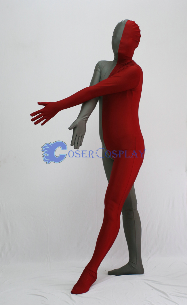 Grey And Red Split Zentai Suits